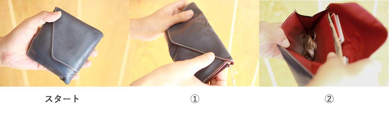 旅行財布:小銭をとりだすアクション