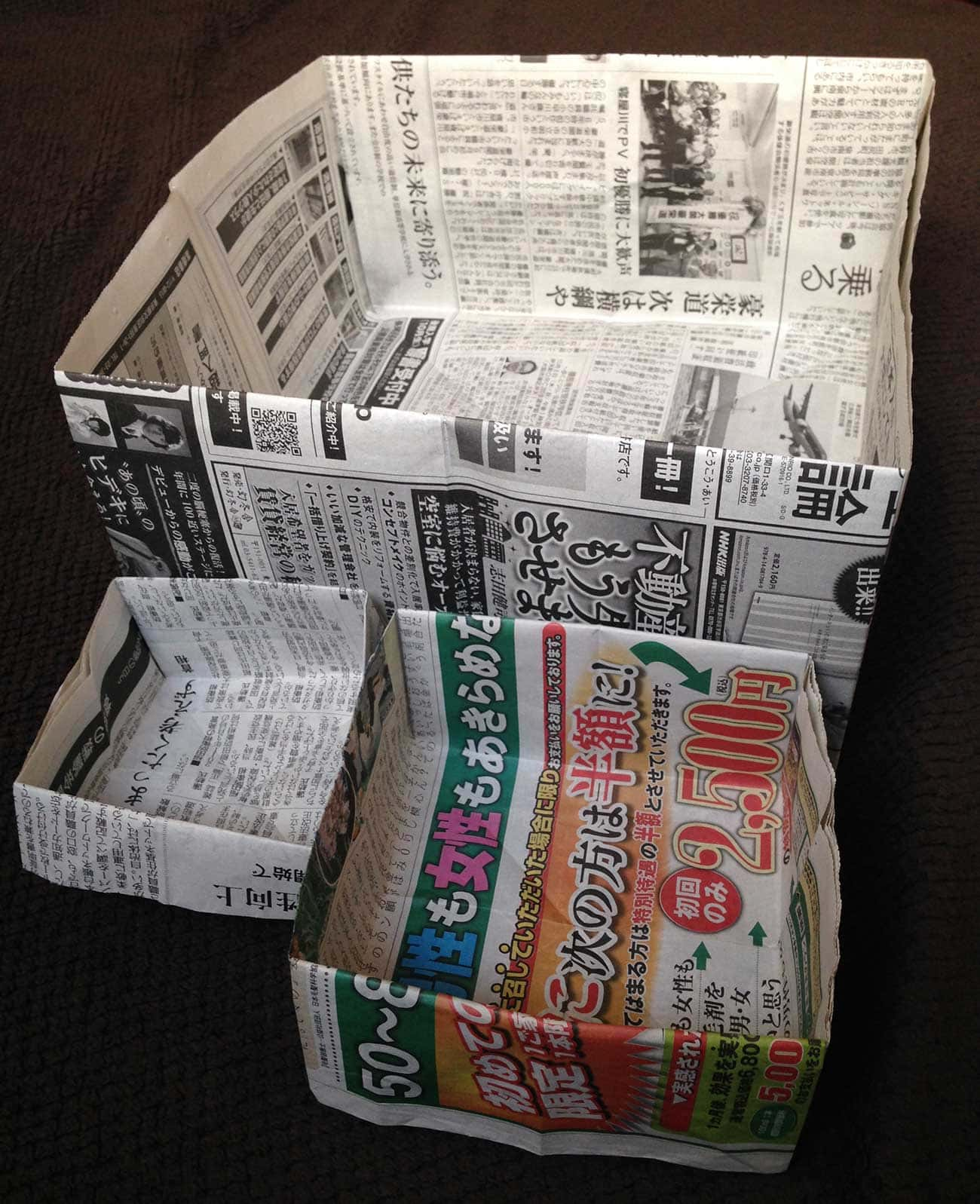 新聞紙で作るゴミ箱:万能型