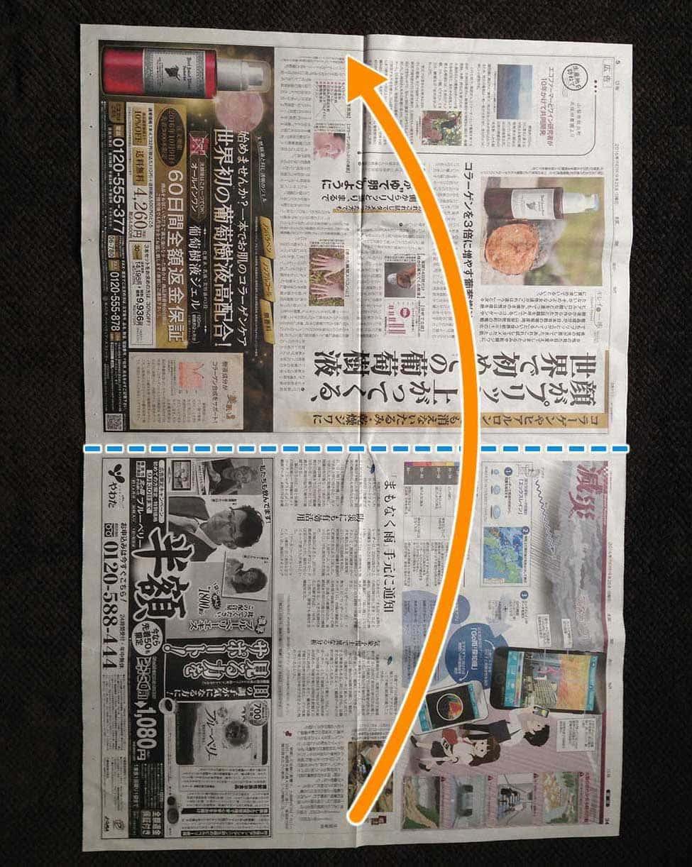 新聞紙で作る万能タイプゴミ箱:ステップ1