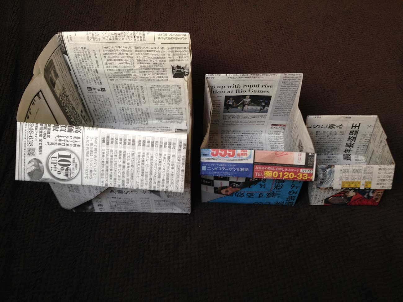 新聞紙で作る万能深型タイプゴミ箱
