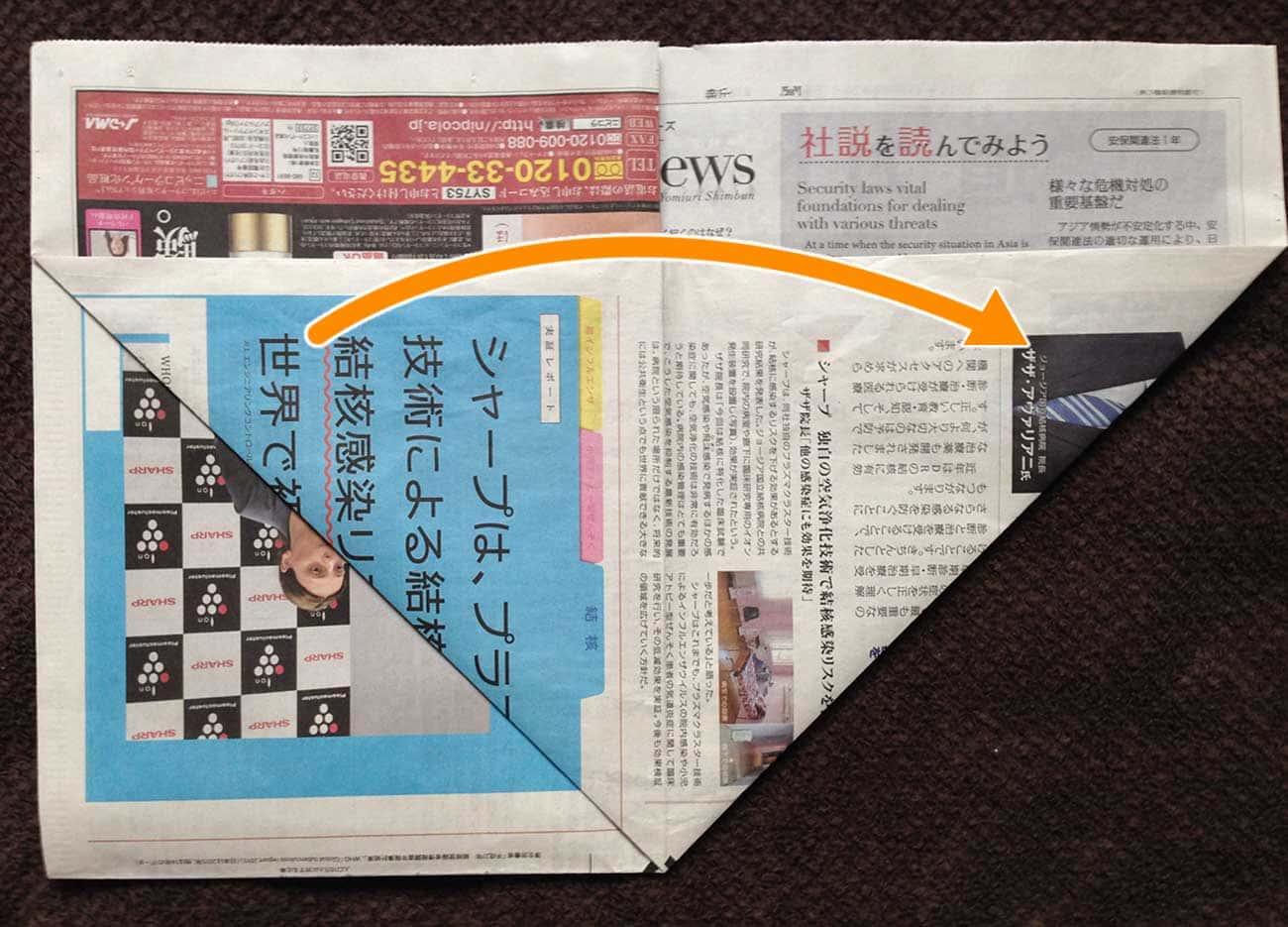 新聞紙で作る万能深型タイプゴミ箱:ステップ5-1