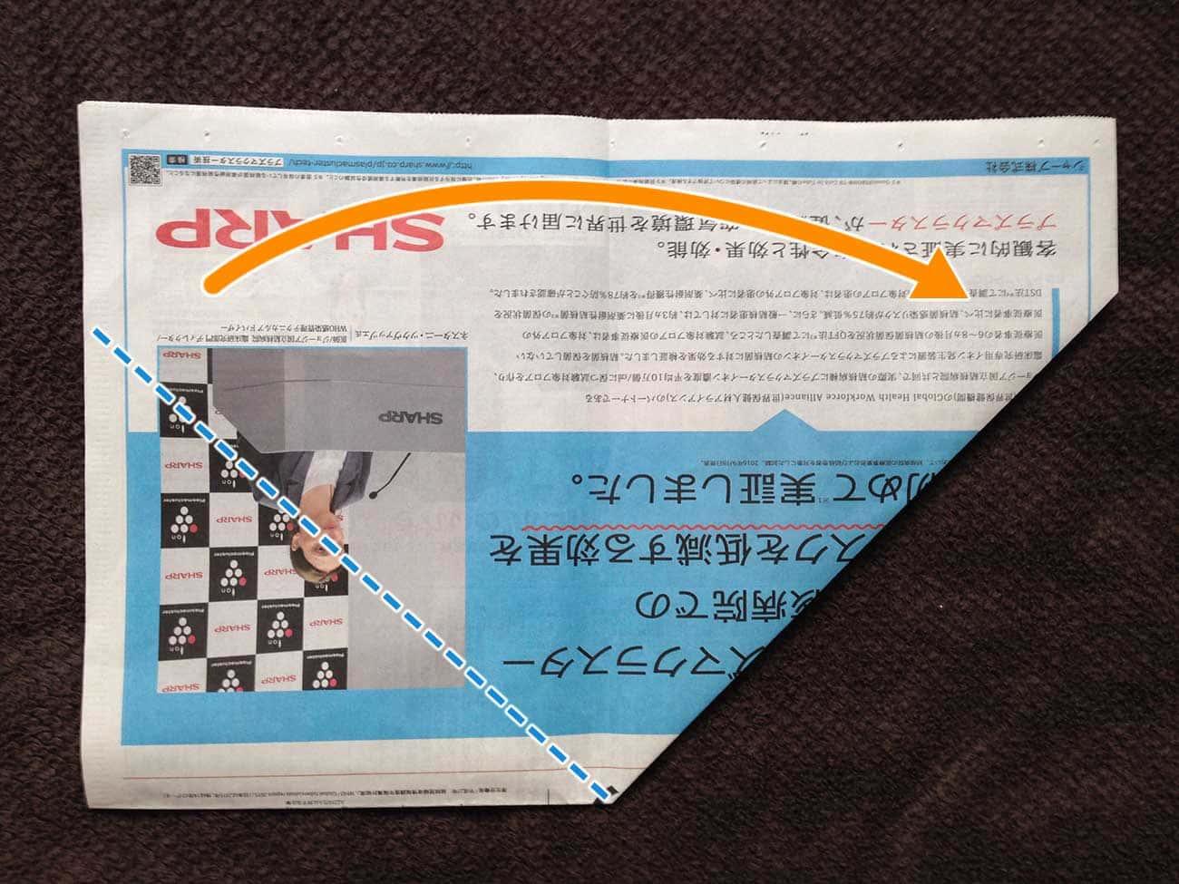 新聞紙で作る万能深型タイプゴミ箱:ステップ5-2