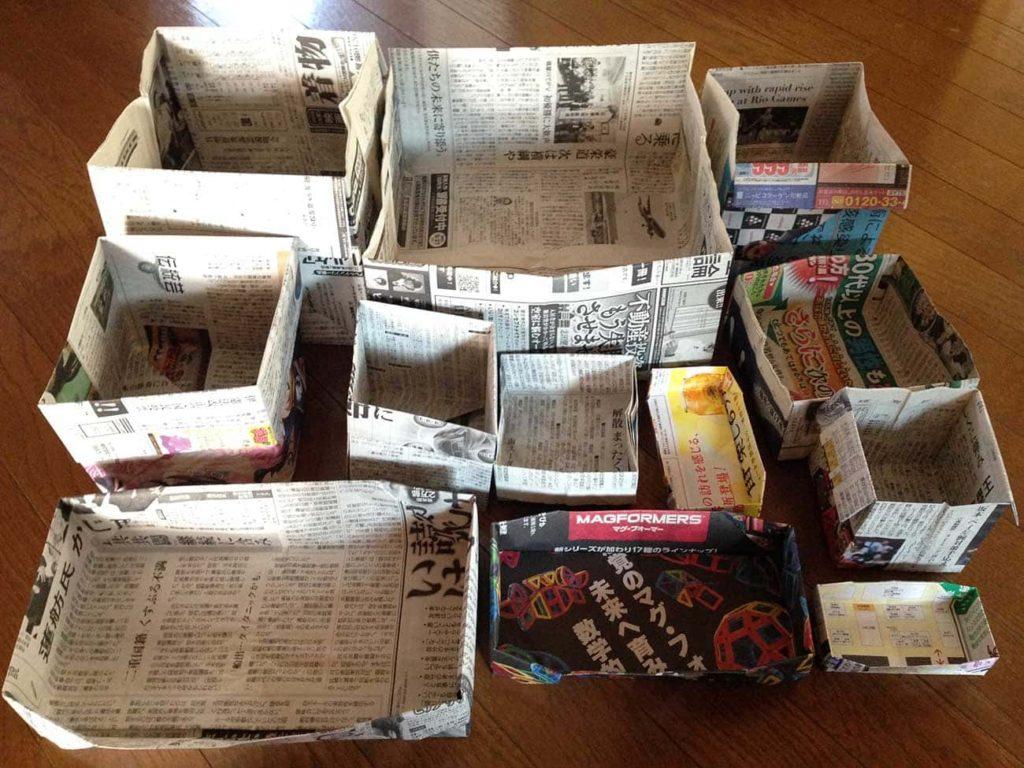 新聞紙でゴミ箱