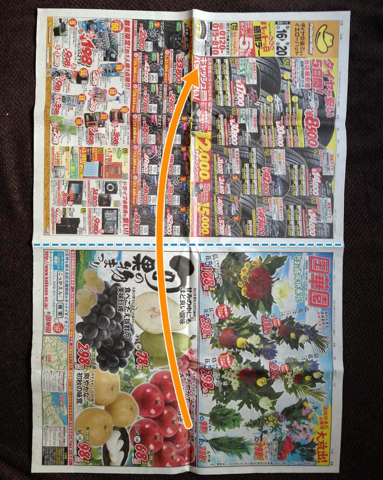 新聞紙で作る細長厚底タイプゴミ箱:ステップ1