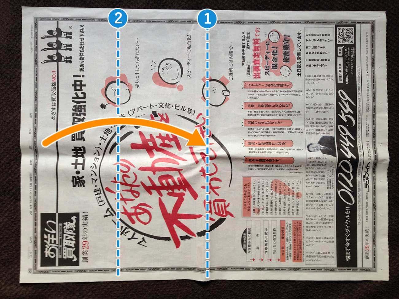 新聞紙で作る細長厚底タイプゴミ箱:ステップ2