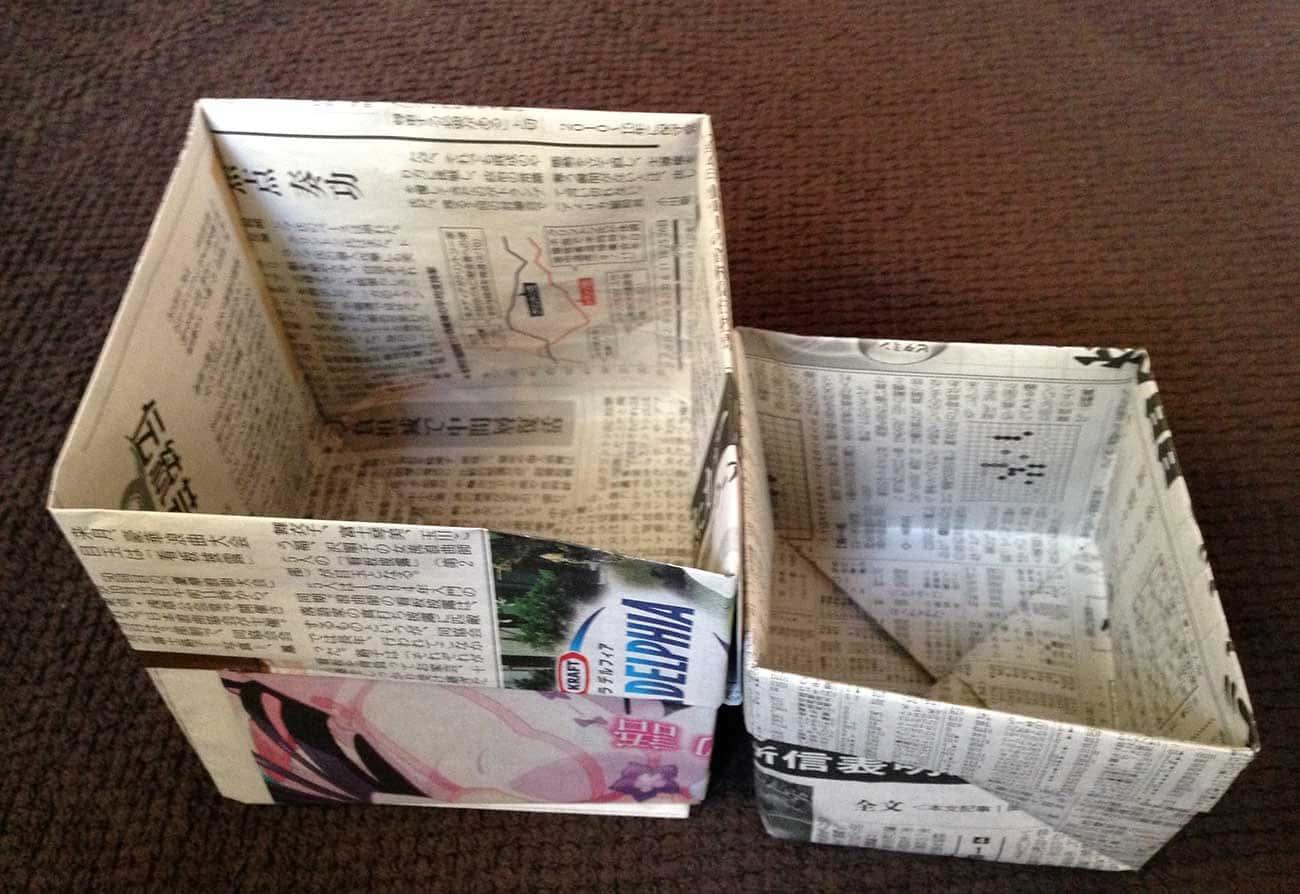 新聞紙で作るキッチン用ゴミ箱