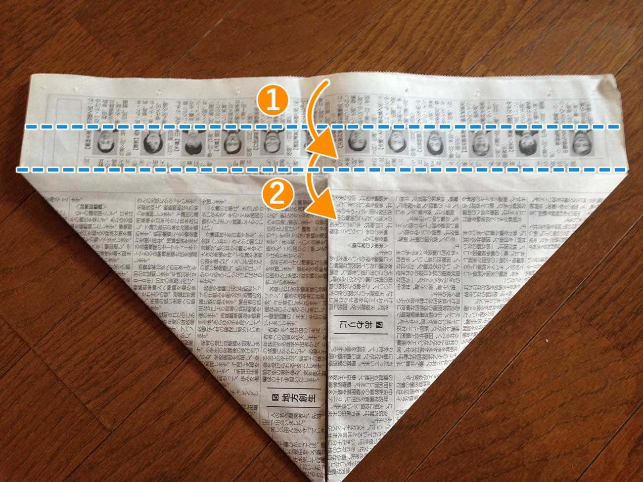 新聞紙で作るキッチン用ゴミ箱:ステップ4-1