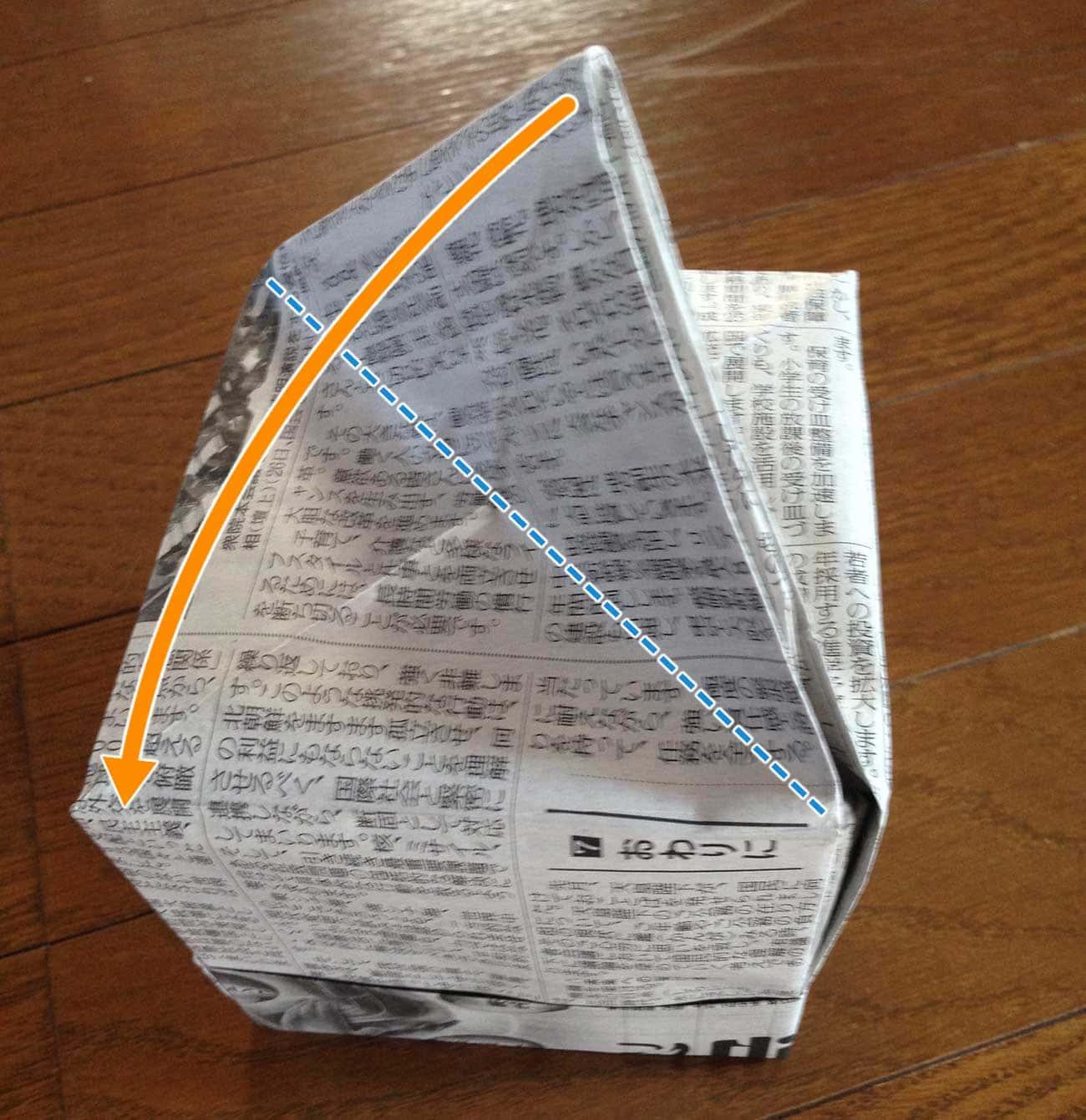 新聞紙で作るキッチン用ゴミ箱:ステップ10