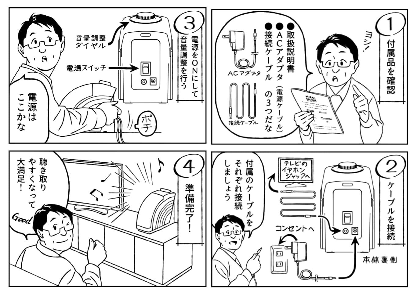 ミライスピーカー 取扱説明書 接続方法 漫画